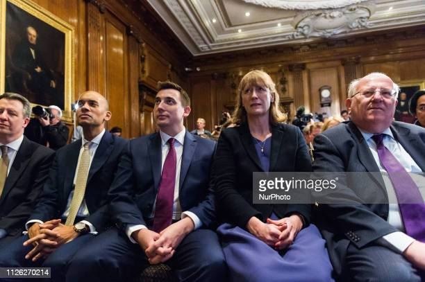 Members of the Independent Group and former Labour Party MPs Chris Leslie Chuka Umunna Gavin Shuker Joan Ryan and Mike Gapes attend a conference on...