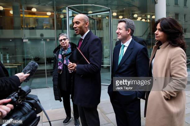 Members of the Independent Group of MPs Ann Coffey Chuka Umunna Chris Leslie and Heidi Allen speak to the press as they arrive at the Electoral...
