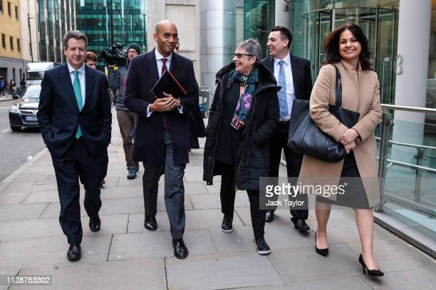 Members of the Independent Group of MPs Chris Leslie Chuka Umunna Ann Coffey Gavin Shuker and Heidi Allen leave following a meeting at the Electoral...