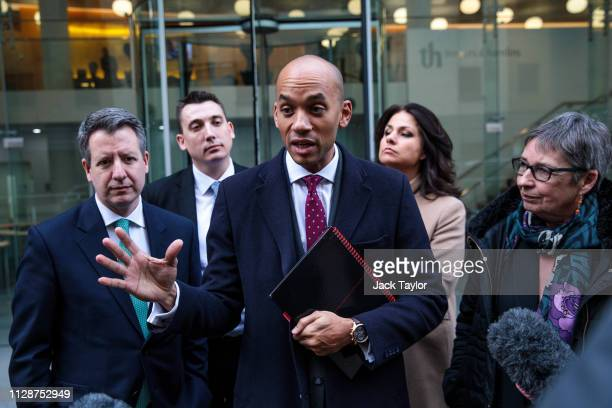 Members of the Independent Group of MPs Chris Leslie Gavin Shuker Chuka Umunna Heidi Allen and Ann Coffey speak to the press after a meeting at the...