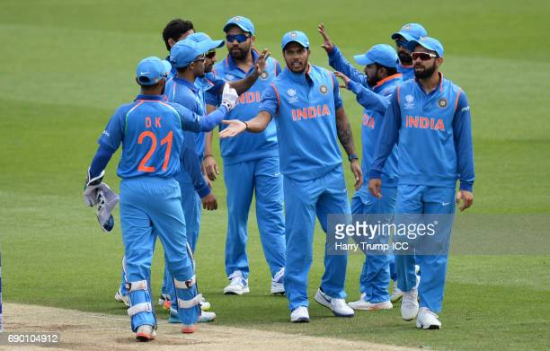 Members of the India side celebrate during the ICC Champions Trophy Warmup match between India and Bangladesh at the Kia Oval on May 30 2017 in...