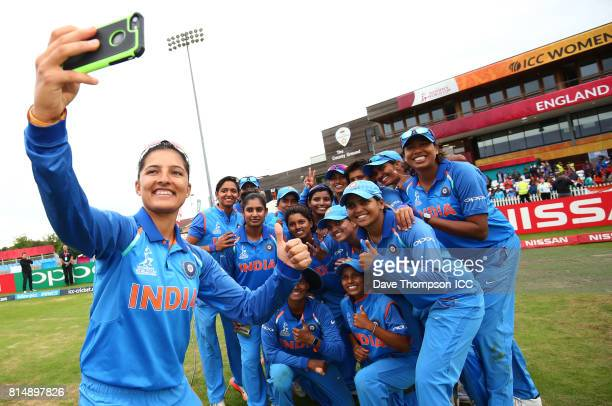 Members of the India squad pose for a selfie during the ICC Women's World Cup match between India and New Zealand at The 3aaa County Ground on July...