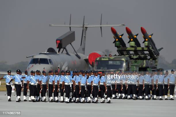 Members of the Indian Air Force march during the Air Force Day parade at an IAF station in Ghaziabad on the outskirts of New Delhi on October 8 2019...