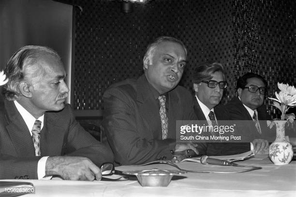 Members of the Indian chapter of the Pacific Area Travel Association Mr Inder Sharma Mr K N Kudesia and Mr H K Kohli meet the press in Hong Kong A...