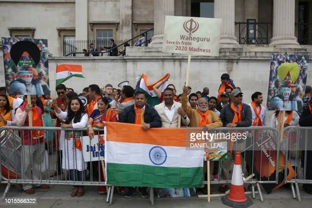 Members of the Indian community hold a counter-protest as Sikhs gather to call for a referendum of the Sikh global community to establish India's...