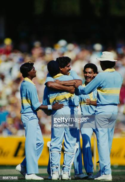 Members of the Indian cricket team celebrate during a match against Pakistan at Melbourne during the World Championship of Cricket One Day...