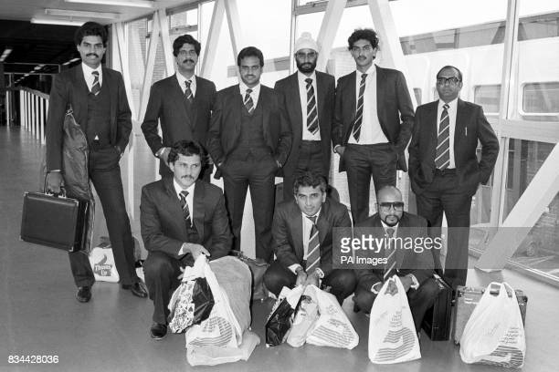 Members of the Indian cricket team for the Prudential World Cup series arriving at Heathrow Back row from left Dilip Vengsarkar Krishnamachari...