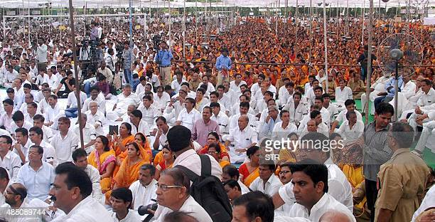 Members of the Indian Jain community participate in a rally after a march protesting the Rajasthan State High Court ruling against Santhara a Jain...