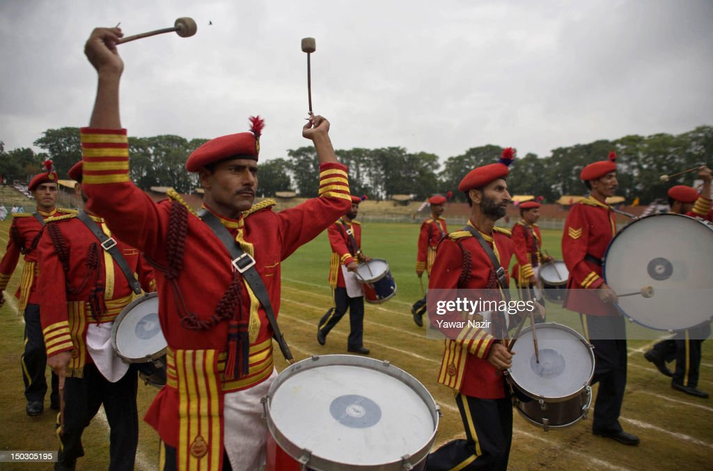 Members of the Indian police band perform during India's Independence Day celebrations on August 15, 2012 in Srinagar, the summer capital of Indian Administered Kashmir. All businesses, schools and shops were closed and traffic remained off the roads following a strike call given by Kashmiri separatist leaders against India's Independence Day celebrations in Kashmir. Meanwhile India deployed large numbers of Indian police and paramilitary forces to prevent any incidents during the official celebrations.