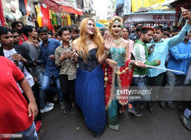 Members of the Indian transgender community dance during the yearly procession of Bhujaria in Bhopal on August 28 2018 Indian transgender from all...