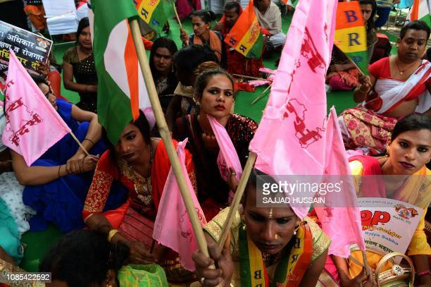 Members of the Indian transgender community take part in a protest against the Transgender Persons Bill 2016 in New Delhi on January 20 2019 The...