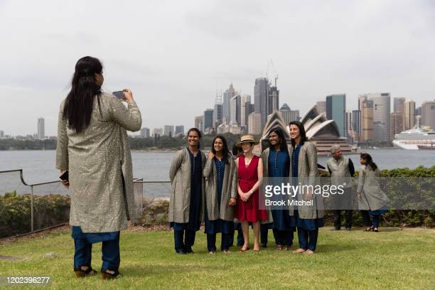 Members of the Indian Womens Cricket team pose for a photo with Her Excellency Mrs Linda Hurley at Kirribilli House during the Governor General's XI...