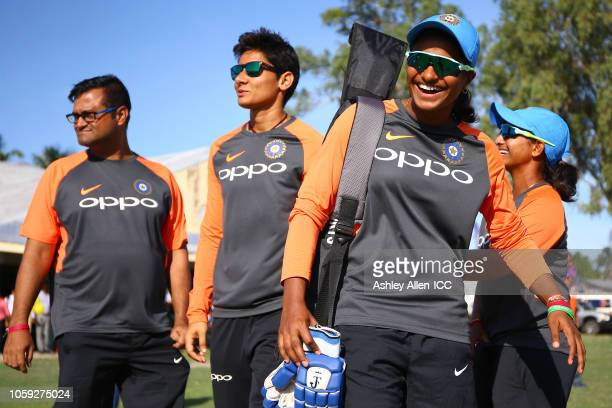 Members of the Indian Women's team take part in a Cricket for Good event on November 8 2018 at the West Demerara Secondary School in Public Road West...