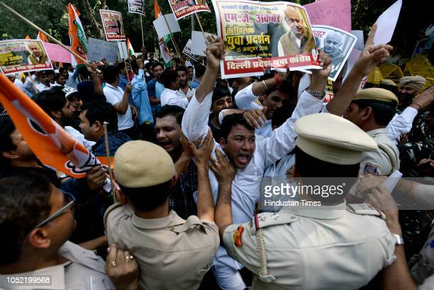 Members of the Indian Youth Congress protest against MJ Akbar the Minister of State for External Affairs for his sexual misconduct and harassment of...