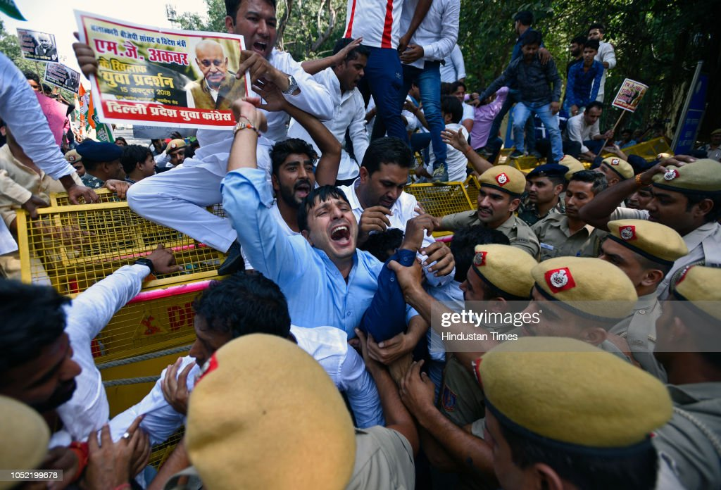 Youth Congress Protests Against MoS For External Affairs MJ Akbar Over Harassment Allegations : News Photo