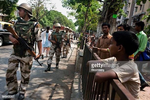Members of the IndoTibetan Police Force patrol outside Arthur Road Jail during the trial of Mohammed Ajmal Kasab the sole surviving gunman from last...