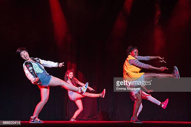 Members of the InnerCity Arts dance company perform onstage at the Sundance Next Fest premiere of 'Morris From America' and youth talent show at The...