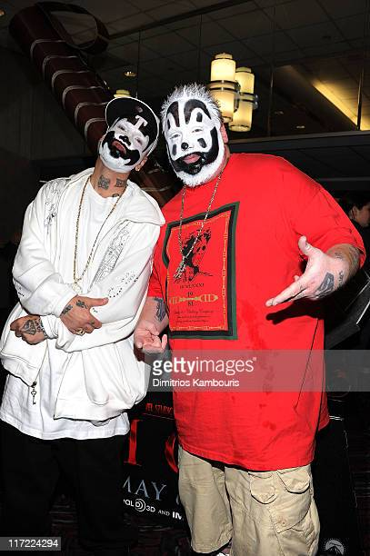 Members of the Insane Clown Posse attend The Cinema Society Acura screening of Thor at the AMC Loews 19th Street East 6 theater on April 28 2011 in...