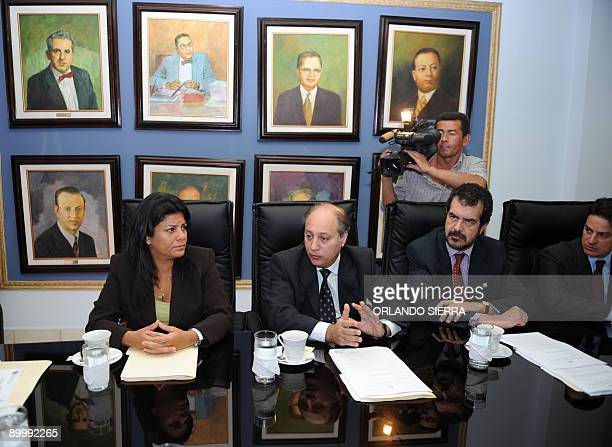 Members of the InterAmerican Commission on Human Rights leaded by its president Patricia Mejia meet Honduran Supreme Court president Jorge Rivera in...