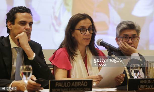 Members of the InterAmerican Commission on Human Rights of the Organization of American States Paolo Abrao Antonia Urrejola and Joel Hernandez...