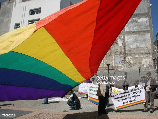 Members of the International Asociation of Families for Sexual Diversity take part in a rally in the framework of the 3th Convention of Family Unity...