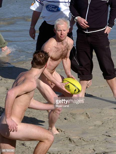 Members of the International Barbarians run the ball up during the nude touch rugby match at St Kilda beach Dunedin Saturday