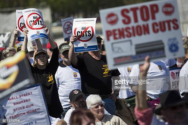 Members of the International Brotherhood of Teamsters and their supporters attend a rally outside the Capitol in Washington DC US on Thursday April...
