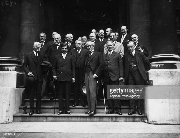 Members of the International Conference on Finance of 1931 front row left to right American industrialist banker and Treasury Secretary Andrew Mellon...
