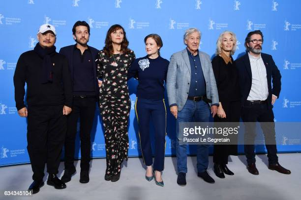 Members of the International jury of the Berlinale film festival Chinese director Wang Quanan Mexican director Diego Luna US actress Maggie...