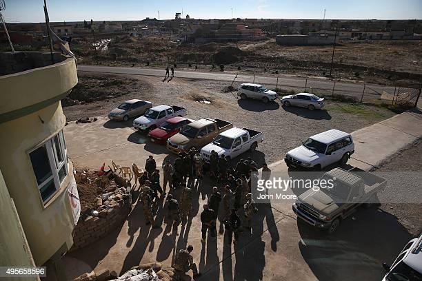 Members of the International Peshmerga Volunteers instruct Iraqi Peshmerga troops on battlefield first aid during a training session on November 4,...