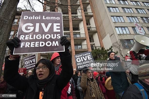 Members of the International Shugden Community protest the Dalai Lama's 'forcibly banning the religious practice of the Buddha Dorje Shugden and...