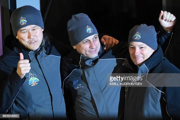 Members of the International Space Station expedition 53/54 NASA astronaut Scott Tingle Roscosmos cosmonaut Anton Shkaplerov and Norishige Kanai of...