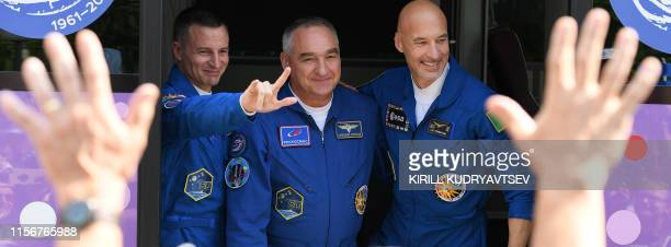 Members of the International Space Station expedition 60/61 NASA astronaut Andrew Morgan Russian cosmonaut Alexander Skvortsov and Italian astronaut...