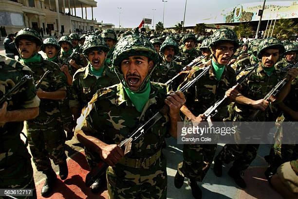Members of the Iraqi miliary forces and thousands more took part in a military parade held on February 8 2003 in Tikrit the hometown of President...