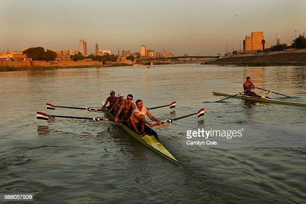 BAGHDAD IRAQ––AUG 30––Members of the Iraqi Olympic Rowing team practice for the upcoming Asian Games on the Tigris River in Baghdad
