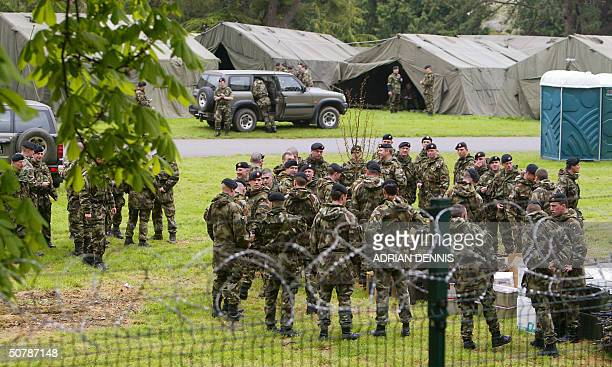 Members of the Irish Army prepare their equipment at Farmleigh where the EU family photo of the 25 heads of state will take place in Dublin 30 April...