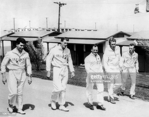 Members Of The Irish Team Walked In The Alleys Of The Olympic Village. From Left To Right, M.J. Murphy, R.M.N. Tisdall, T. Maloney, Pat O'Callahan...
