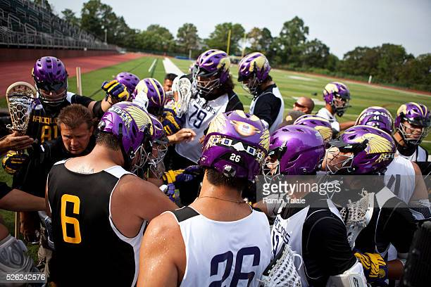 Members of the Iroquois Nationals lacrosse team during a practice session at the Wagner College in Staten Island as they wait for their visa to...