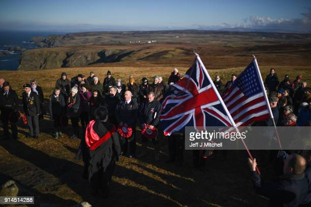 Members of the Islay community hold a commemorative service at the American Monument on February 5 2018 in Islay Scotland As part of Islay's year of...