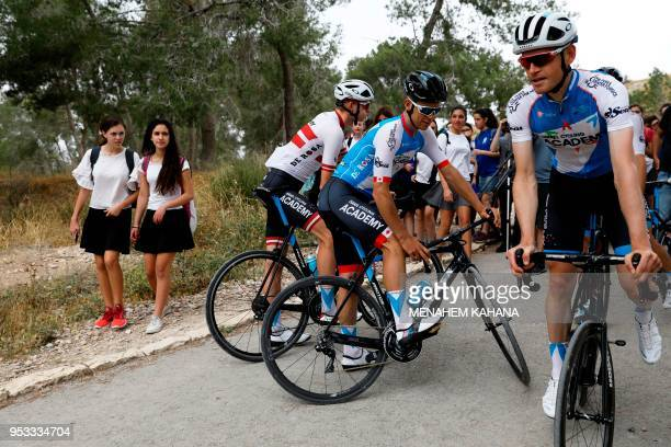Members of the Israel Cycling Academy team train in Tel Azekah near Beit Shemesh on May 1 a few days before the start of the Giro d'Italia cycling...