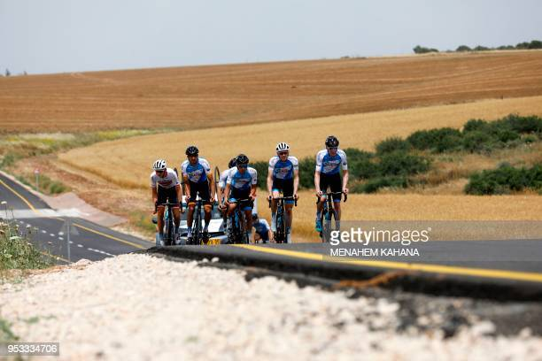 Members of the Israel Cycling Academy team train near Kibbutz Beit Guvrin on May 1 a few days before the start of the Giro d'Italia cycling race The...