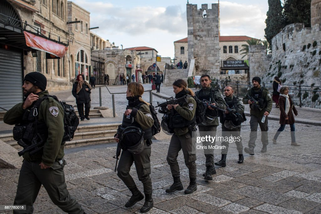 Members of the Israeli Border Police patrol through the Old City on December 7, 2017 in Jerusalem, Israel. Tension is high in Jerusalem a day after U.S President Donald Trump's announcement recognizing Jerusalem as the capital of Israel. President Trump went ahead with the announcement despite warnings from Middle East leaders and the Pope condemning the decision. Clashes between Israeli forces and Palestinian protesters erupted in several West Bank cities.
