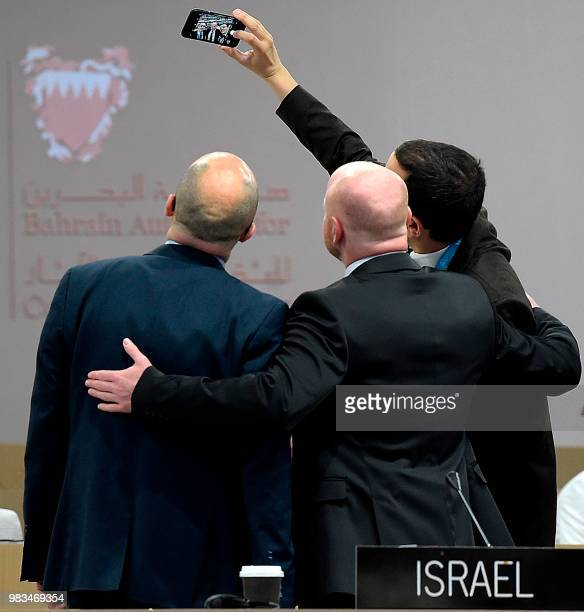 Members of the Israeli delegation take a selfie picture during the opening session of United Nations Educational Scientific and Cultural...
