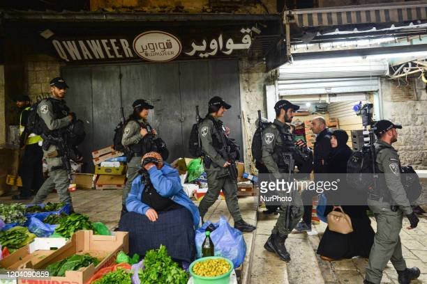 Members of the Israeli security forces seen in the Old City of Jerusalem. On Friday, February 28 in Jerusalem, Israel.