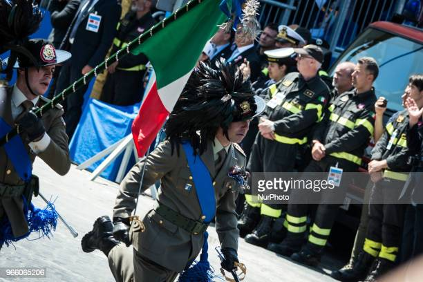 Members of the Italian Armed Forces take part at the parade during a ceremony marking the anniversary of the Italian Republic on June 2 2018 in...