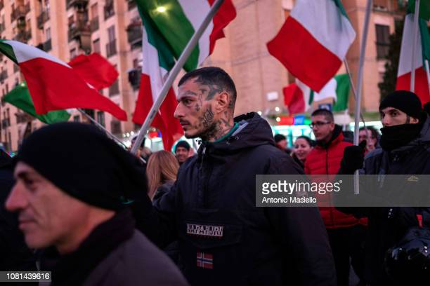 "Members of the Italian far-right political party ""Forza Nuova"" protest against the evictions in the Magliana district on January 12, 2019 in Rome,..."