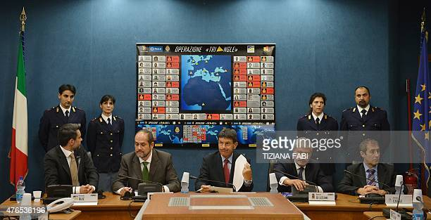 Members of the Italian Spanish and Polish police give a joint press conference to announce the dismantling of a cyber criminal network specialized in...