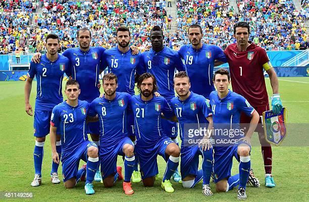 Members of the Italy's national team Italy's defender Mattia De Sciglio Italy's defender Giorgio Chiellini Italy's defender Andrea Barzagli Italy's...