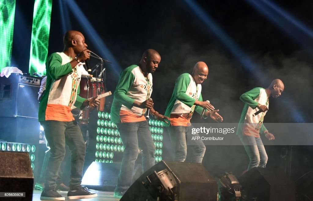 Members of the Ivorian Zouglou dance style music band