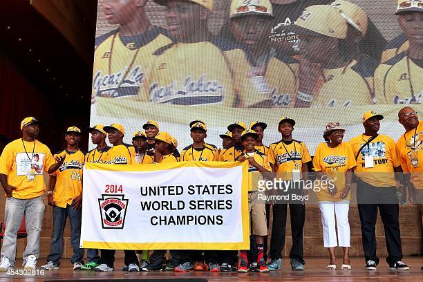 Members of the Jackie Robinson West little league baseball team participates in the team's United States World Series Championship Rally at...